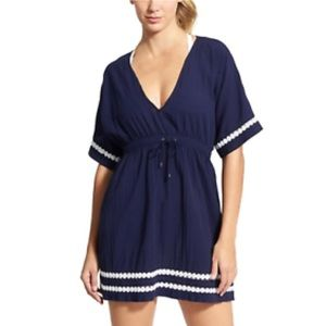Athleta | Navy Coast To Coast Travel Cover Up Med